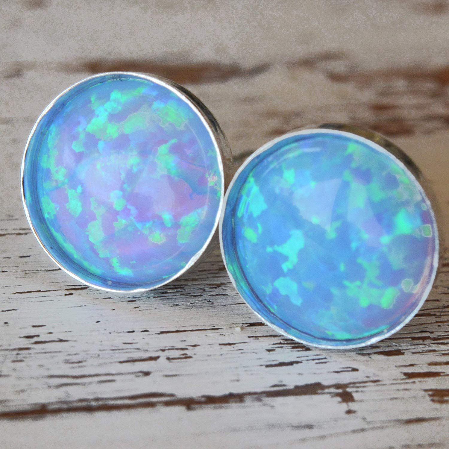 Opal Stud Earrings 6mm Round Sterling Silver Light Blue Opal Minimalist Stud Earrings