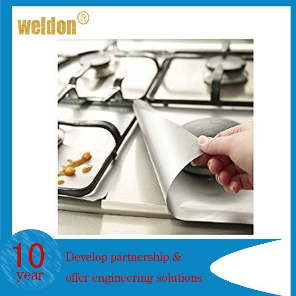 Set of 4 Black or Silver Gas Range Hob Teflon Non Stick Protectors
