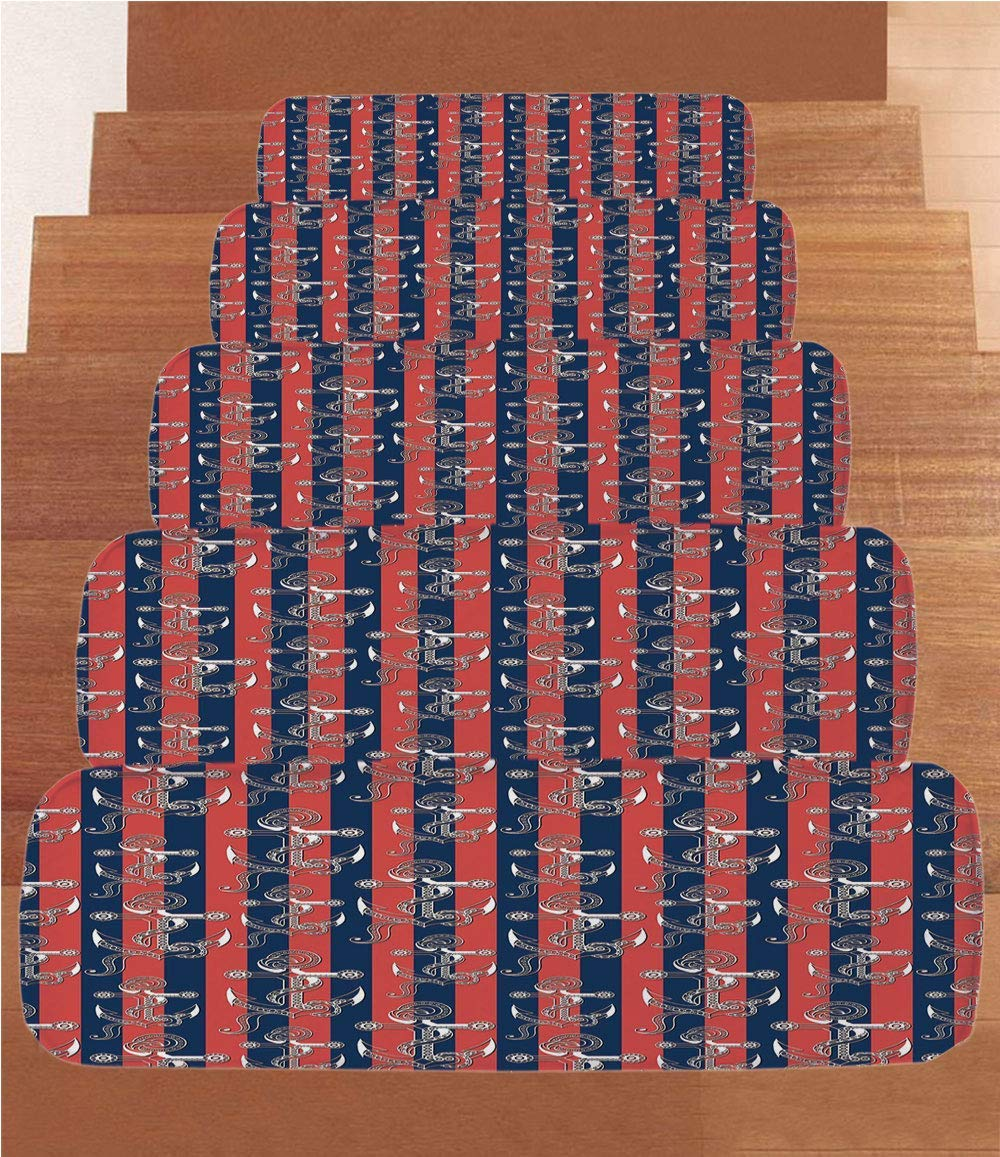"""Non-Slip Carpets Stair Treads,Anchor,Vertical Stripes with Artistic Figures Harbor Seaport Marine Life Decorative,Dark Coral Navy Blue White,(Set of 5) 8.6""""x27.5"""""""
