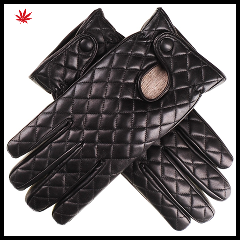 Men 's lined woollen leather gloves with back quilting seam