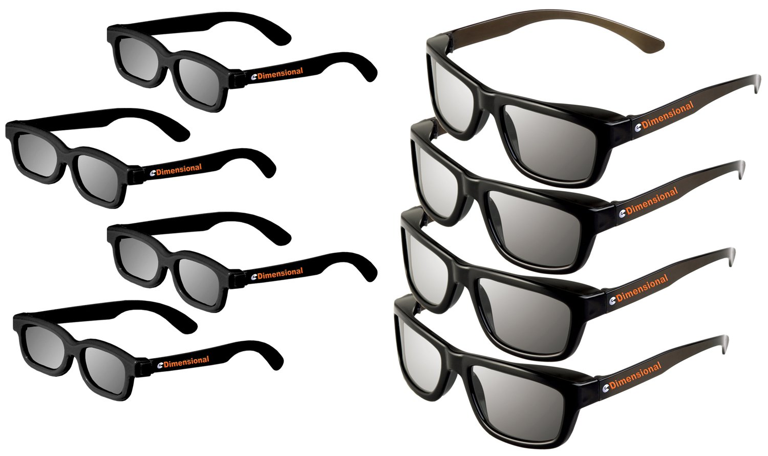 Passive 3D Glasses Deluxe Family Pack For Vizio 3D TVs Genuine eDimensional Sealed Kids and Adult Passive Theater Circular 3D Glasses!