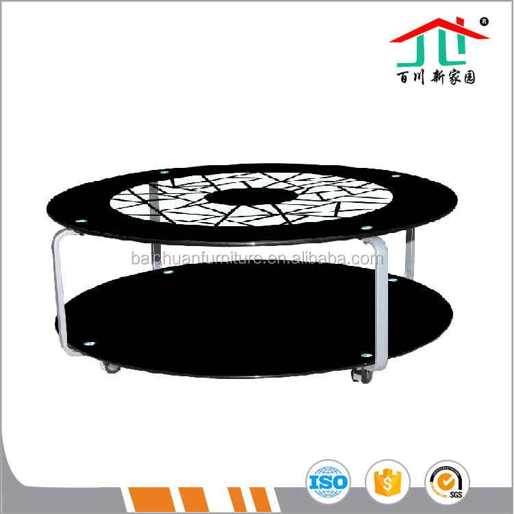 Modern Table Top Tempered Glass Metal Chromed Legs Coffee tables with wheels