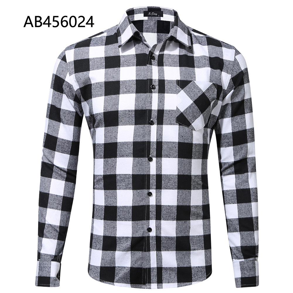 100% cotton blue black long sleeve shirts with chest pocket custom plaids dress shirt AB456023