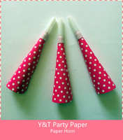 Fuchsia Polka Dots Party PaperBlow Horn Party Paper Noise Makers