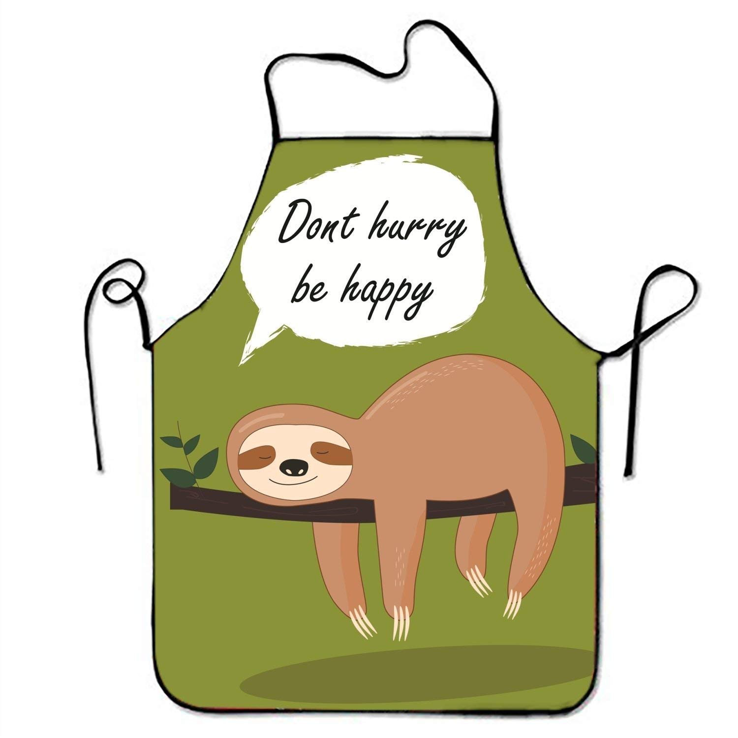 Don't Hurry Be Happy Lazy Sloth Kitchen Aprons For Women And Men Adjustable Neck Strap Restaurant Home Chef Bib Apron For Cooking BBQ Grill