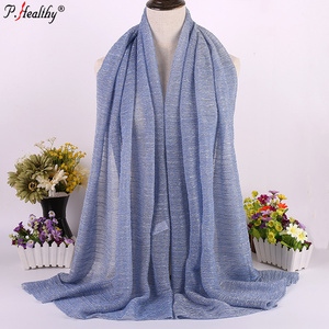 Fashion Wholesale Elegant Islamic Women Arabic Glitter crinkle shawls hijabs