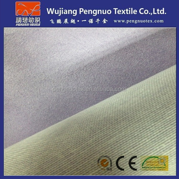 Micro fiber brushed suede backing bonded t/c fabric material for sofa and garments upholstery f