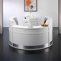 2016 build a round reception desk,high glossy white reception desk