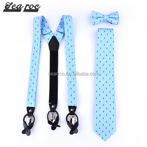 2017 Hight quality custom blue fashion braces Men's fabric suspender with bow /tie