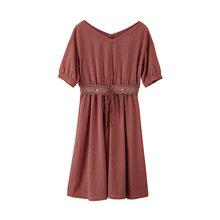 Inman v-образным воротом, литературный вышивка в полоску с подчеркнутой талией обтягивающая с короткими рукавами A-lineA женское платье(Китай)