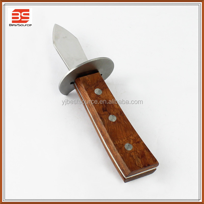 Stainless steel oyster knife with hand safeguard, oyster opener