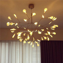 Modern White Leaf Lens Firefly Branch LED Pendant Light