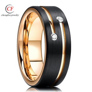 Flat Edge Comfort Fit Men's 8mm Thin Rose Glod Groove Black Brushed Tungsten Carbide Ring