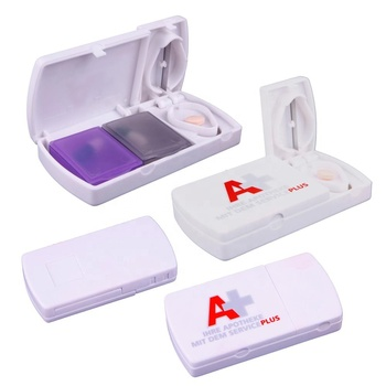 Top seller traveling combination plastic capsule container 2 compartments travel medicine case table drug cutter flip pill box