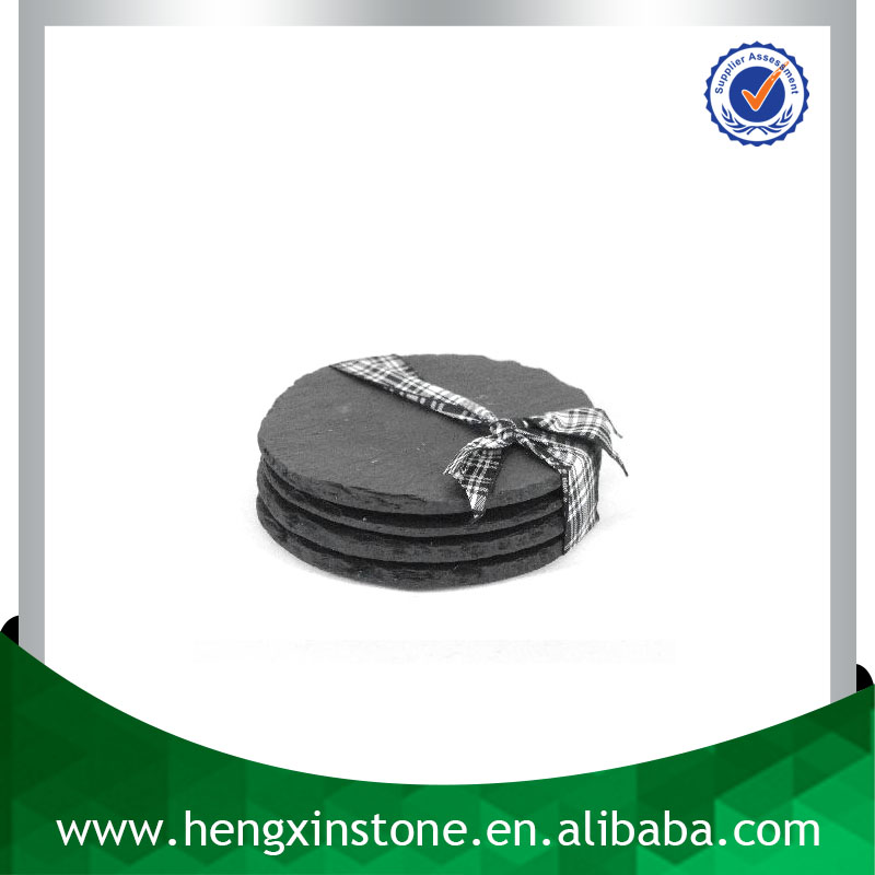 Wholesale Natural Edge Dia10*0.5cm Round Stone Coaster With Gift Box
