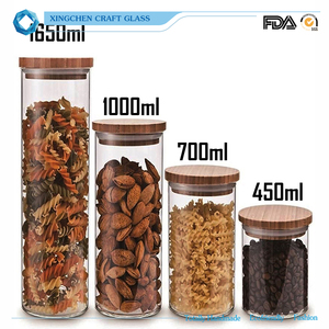 Round Shape Glass Food Storage Jar Set with Airtight Bamboo Lid Seal