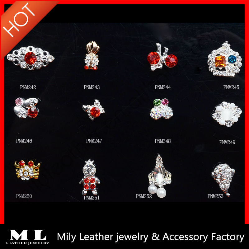 2014 fashionable 3D beautiful decorative accessories glitter nail pearl art jewelry MLPNM242-253