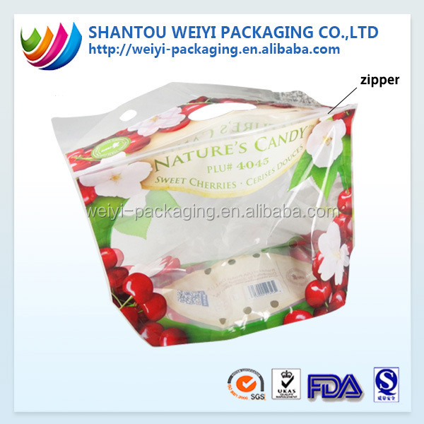 customized fresh fruit harvest protection bag mango juice plastic packaging bag with air hole/ zip lock on the top