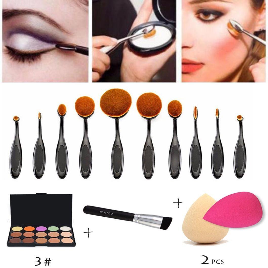 15 Colors Concealer Camouflage Makeup Palette +10pcs Nylon Bristle Toothbrush Style Cosmetic Makeup Brush Set + Oblique Head Contour Blush Makeup Brushes + 2pcs Comestic Sponge Puff