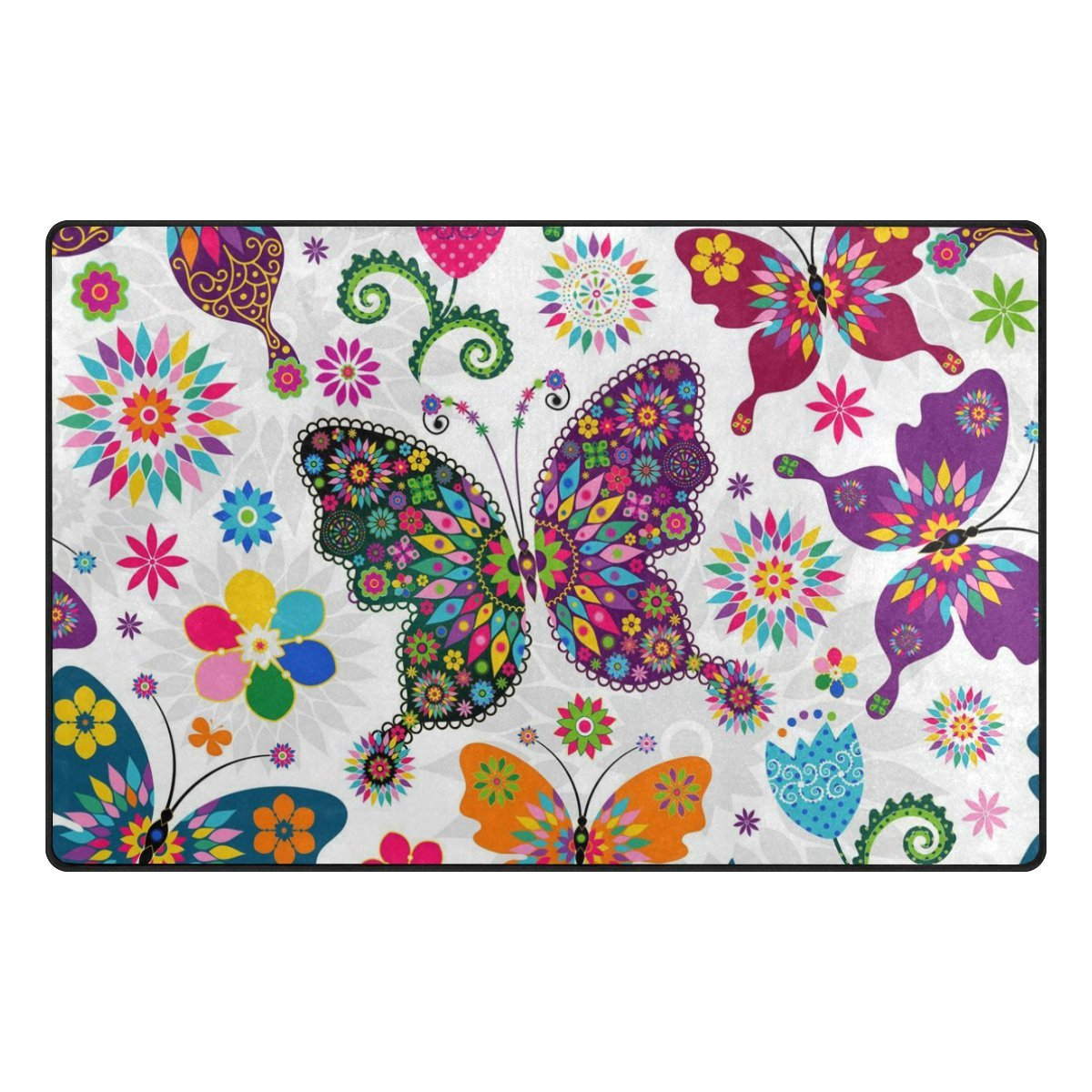 INGBAGS Super Soft Modern Butterfly Area Rugs Living Room Carpet Bedroom Rug for Children Play Solid Home Decorator Floor Rug and Carpets 31 x 20 Inch