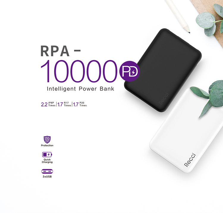 Recci qc 3.0 quick charge pd power bank fast charging