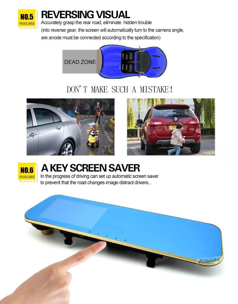 1080p car dvr 4.3'' dual lens car rear view mirror dvr car dvr