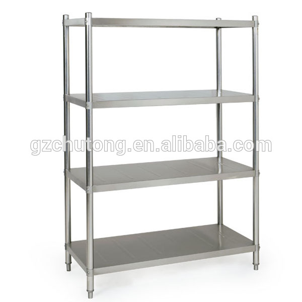 Stainless Steel Komersial Dapur Rak Perakitan Penyimpanan 4 Decks