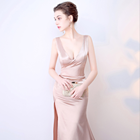 653 Sexy Women Evening Dress Champagne Satin Long Dress