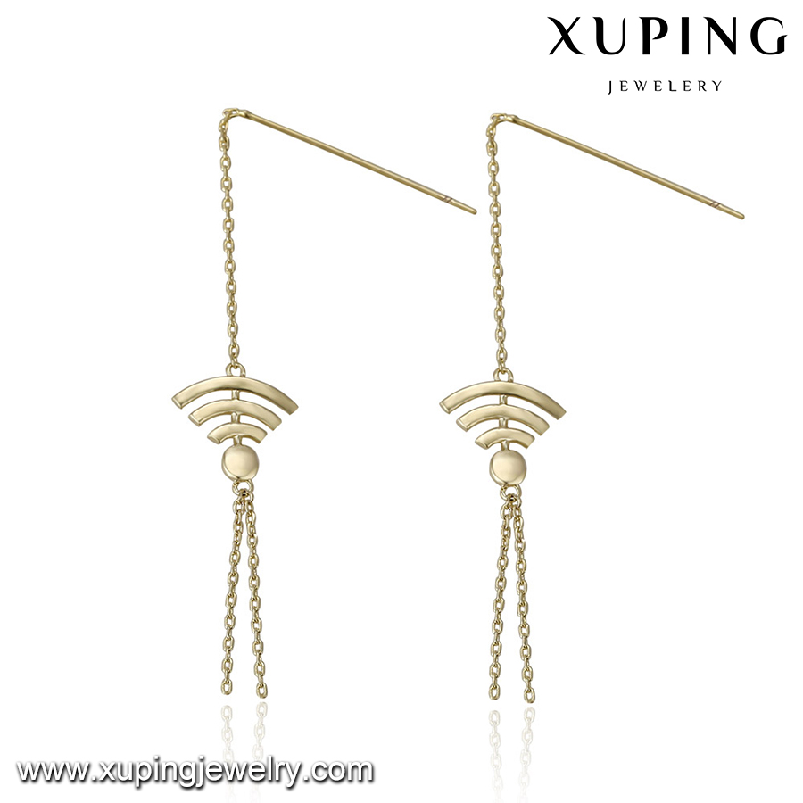 94387 fancy tassel design gold earring, Wind Boat Anchor Shape Zinc Alloy Earrings, daily wear earrings