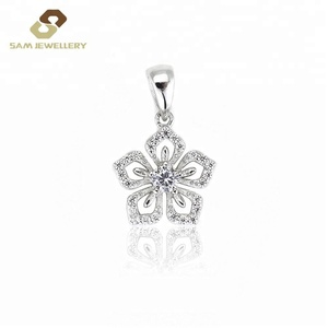 Romantic Silver Plum Blossom Pendants with CZ