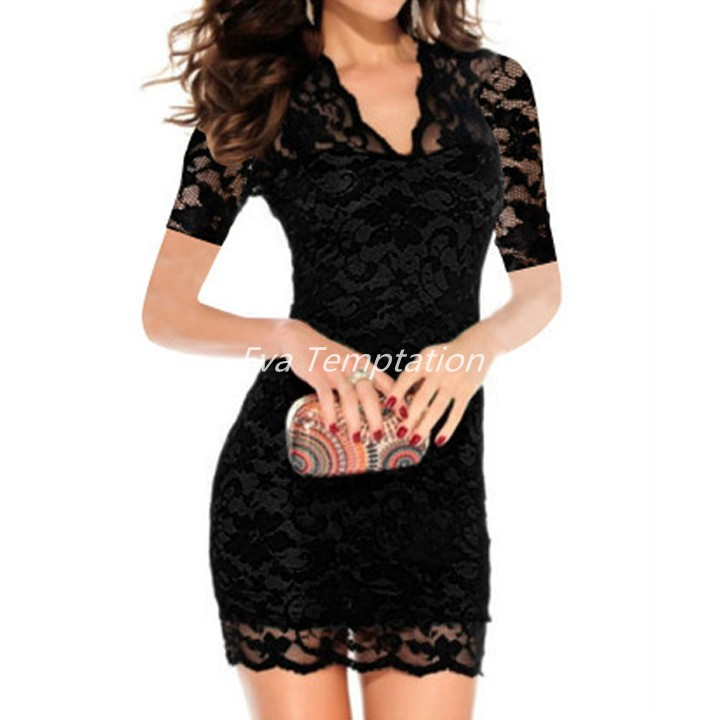 74fc8eb9eeb Get Quotations · hot summer Lace V-neck Mini Dress low-cut Short Sleeve  Bodycon Bag Hip