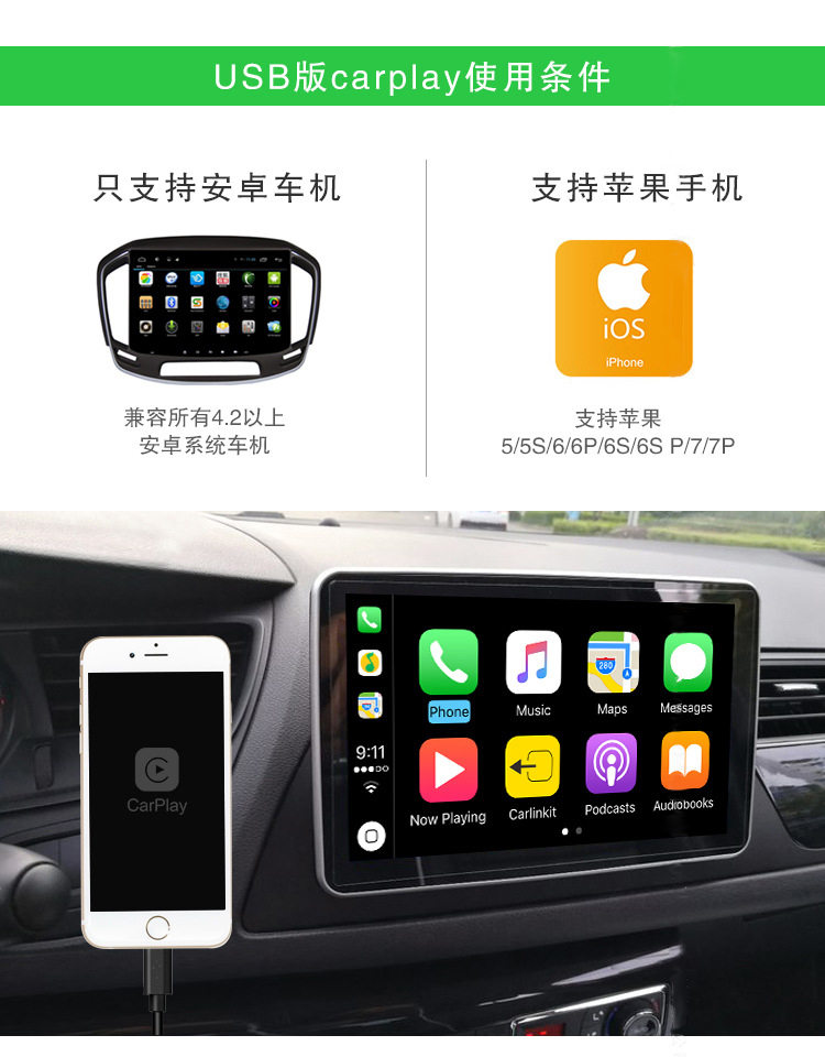 Touch Screen Bluetooth GPS Navigation USB Carplay Dongle Box For Apple Android Iphone DVD MP3 Music Player AM/FM Receiver