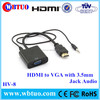 China Supplier Wholesale Hdmi To Vga Cable Adapter Video Audio wire support