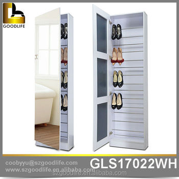 Home furniture goodlife best selling high heels storage shoe cabinet with mir - Armoire chaussures miroir ...