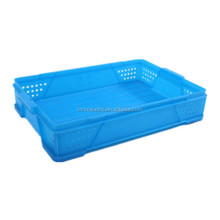 PE stackable food grade plastic food crate/peach baskets/bread crate