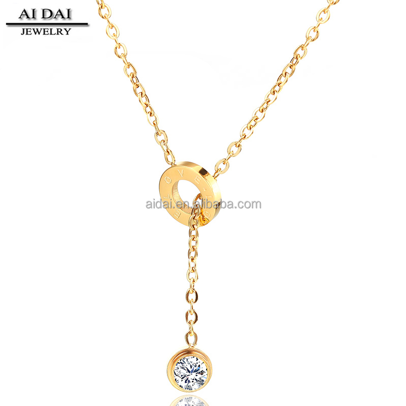 Hot korean Stainless steel plated gold Zircon love long necklace women
