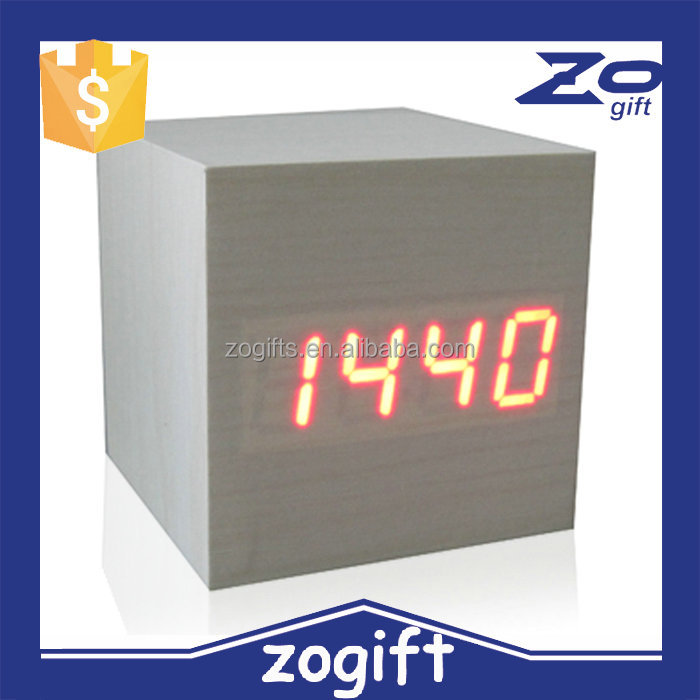 ZOGIFT wooden clock digital alarm clock Antique Wooden Desk ClocK