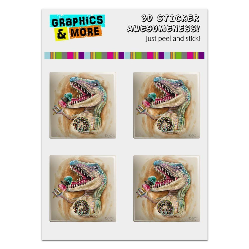 """Graphics and More T-Rex Dinosaur Donut Ice Cream Funny Jurassic Junkie Computer Case Modding Badge Emblem Resin-Topped 1"""" Stickers - Set of 4"""