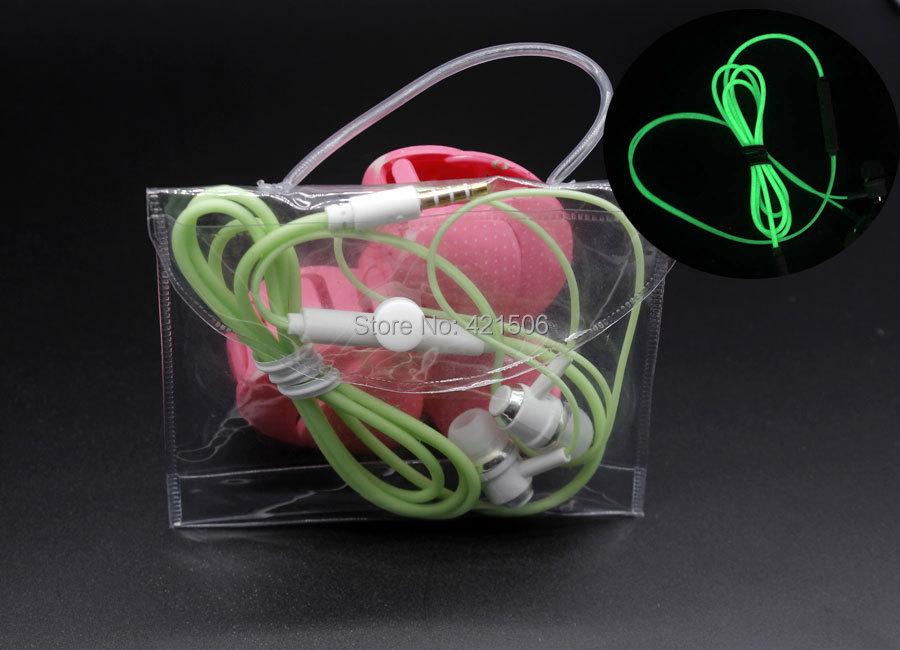 1 шт. 100% красочные мода свечение наушники наушники световой гарнитуры со стереозвуком для мобильного телефона