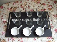 cheese slate boards set with glasses cups and ceramics bowls and spoons