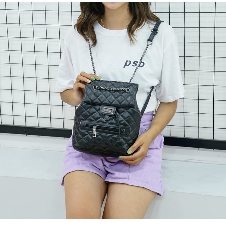 Embroidered line double shoulder small back bag female 2019 new fashion backpack