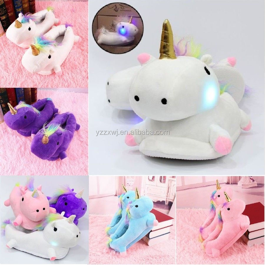 Unicorn Plush Slippers for Adults 11/'/'