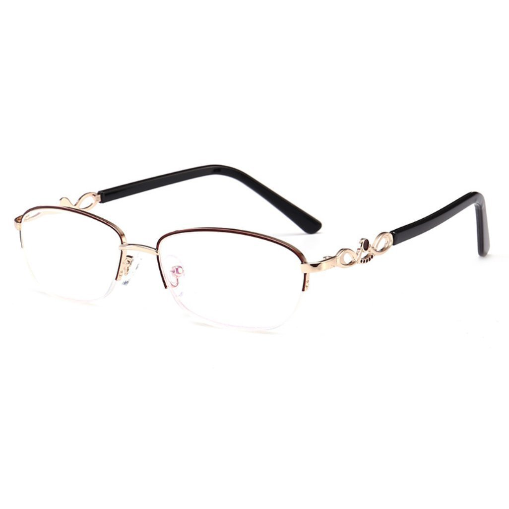 5c60206f95 Get Quotations · CUIYAN Lace half frame crystal reading glasses with glasses  box metal reading glasses (Color