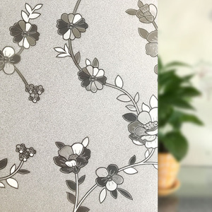 3D Flower pattern embossed frosted glass door covering sticker stained decorative Static cling Window Film