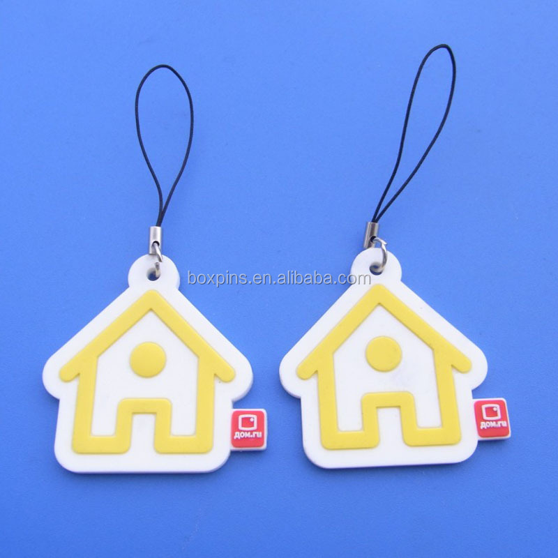 simple design mini house shape pvc cell phone strap charm