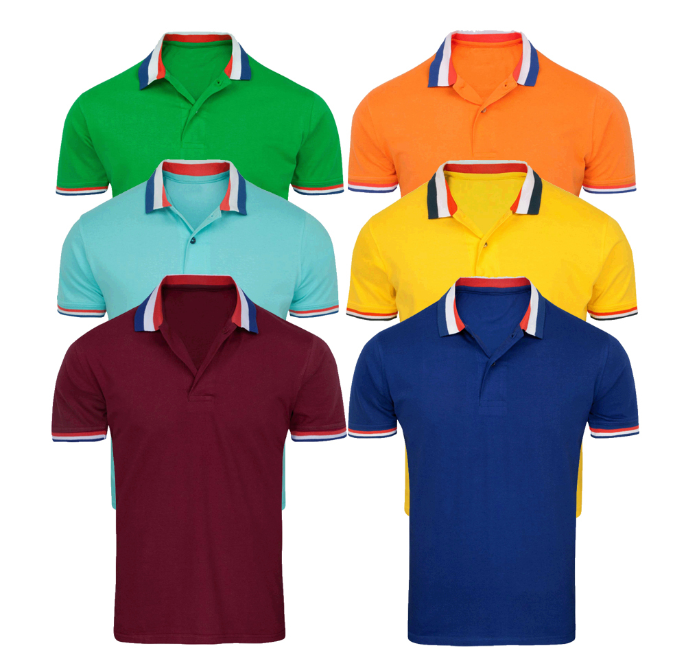 Wholesales bulk cheap men contrast collar polo shirt for Cheap polo collar shirts