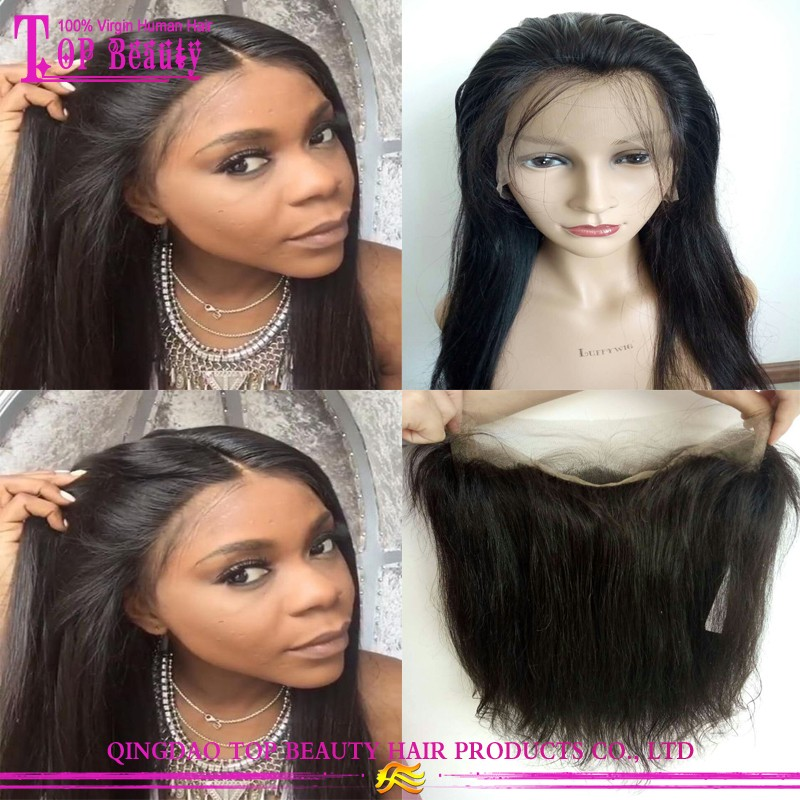 Wholesale cheap 360 frontal brazilian hair lace frontal with 360 lace band hot sale 360 lace frontal