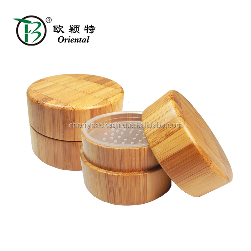 High quality natural customized bamboo loose powder case empty bamboo loose powder container packaging