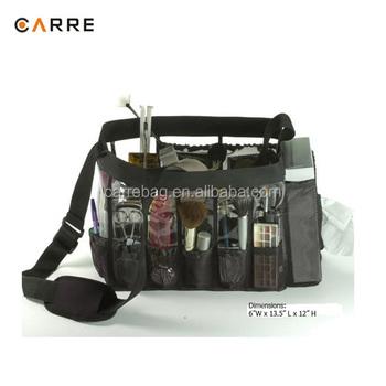 professional clear PVC make up artist tool makeup set bag with mesh pockets