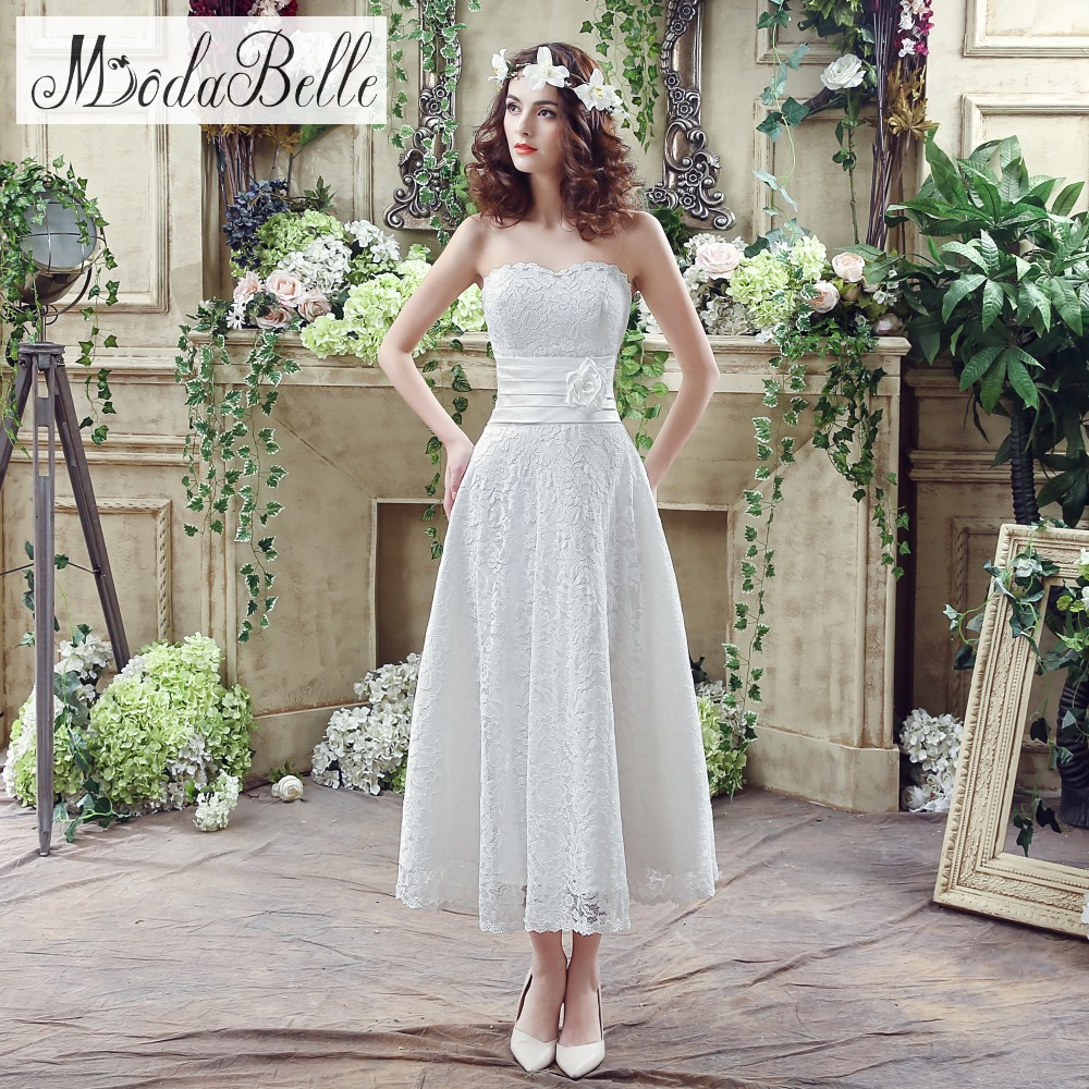 Cheap Casual Wedding Dresses: In Stock 2016 White Ivory Sweetheart Lace Wedding Dresses